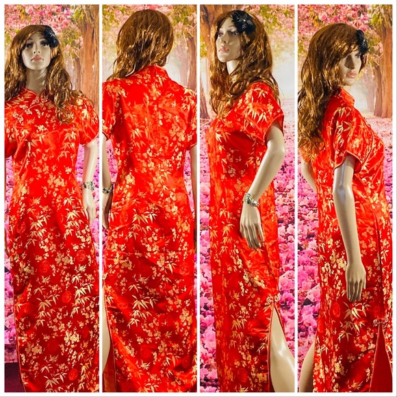 Dresses & Skirts - Red And Gold Floral Maxi Qipao Dress